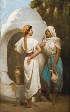 Hippolyte LAZERGES (1817 - 1887)   Orientales au puits Huile sur panneau, datée « 1879 »