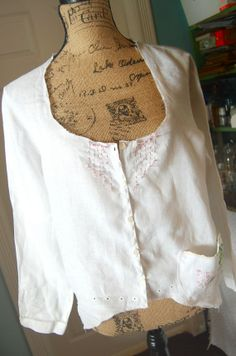 White Linen Peasant Top Shabby Chic Upcycled by OfLinenandLace, $58.50