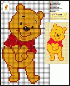 Ideas Embroidery Patterns Cross Stitch Winnie The Pooh Cross Stitch For Kids, Cross Stitch Baby, Cross Stitch Animals, Cross Stitch Charts, Cross Stitch Designs, Cross Stitch Patterns, Beaded Cross Stitch, Crochet Cross, Cross Stitch Embroidery