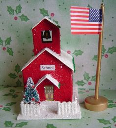 Christmas Village Paper Putz style School by thesaltboxcollection, $22.00