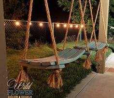 Rustic Porch Ideas All homes need furniture. The furniture you buy is practical and also demonstrates your personality. Use these tips if you want to make wise c Backyard Swings, Backyard Patio, Backyard Landscaping, Outdoor Swings, Porch Swings, Landscaping Costs, Landscaping Borders, Outdoor Patios, Rope Swing