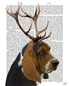Basset Hound Dog and Antlers Art Print mixed media by FabFunky, $15.00   Love the mixed media and love the mixed animal.