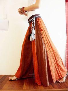 White Sleeve With Pants Two Tone Dark Orange Fusion Brown