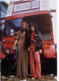 """superseventies: """"Marc Bolan with his wife, June Child. """" The """"Weeley Festival of Progressive Music"""" was held August gathering well over people. Despite being a bit of a mess (organizers had anticipated a much smaller crowd), fond. Marc Bolan, Glam Rock, American Apparel, Louise Ebel, Rock Revolution, Moonage Daydream, Vintage Caravans, Caravan Vintage, San Fernando"""