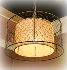 Chicken wire on a lamp shade other neat lamp shades and lamps on burlap and chicken wire light greentooth Gallery