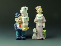 Vintage Salt & Pepper Shakers - Woman w/Poodle & Man w/ Stack of Presents-Japan