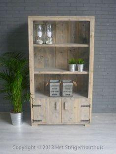 Steigerhout boekenkast landelijk bij www.hetsteigerhouthuis.nl