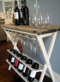 DIY wine rack makeover-I have an almost identical 'before' table & my mom has one identical to mine, both of which are sitting in garages right now. - now this is the wine rack I need ! Furniture Projects, Home Projects, Diy Furniture, Wine Storage, Record Storage, Diy Wine Racks, Diy Rack, Storage Racks, Saving Ideas