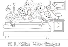 5 little monkeys colouring sheet - Szukaj w Google
