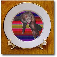 #SandyMertens #Animals Dancing #Ferret  #Plates #Porcelainplate #decorativeplate #3drose
