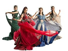 Sang'gres (left to right: Alena, Pirena, Amihan and Danaya) Encantadia 2016 Costume, Encantadia Costume, Costumes, Pinoy, Kylie, Singing, Princess Zelda, How To Wear, Fictional Characters