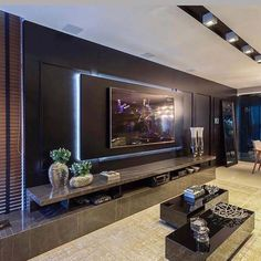 Chic and Modern TV wall mount ideas. - Since many people including your family enjoy watching TV, you need to consider the best place to install it. Here are 15 best TV wall mount ideas for any place including your living room. Living Room Home Theater, Living Room Theaters, Home Theaters, Tv Wall Cabinets, Living Room Tv Unit Designs, Tv Wall Ideas Living Room, Living Rooms, Tv Wall Decor, Wall Tv