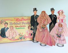 children's dolls from the 1950's | Early 1950s Bridal Party StandUp Paper Dolls Set by by Tparty
