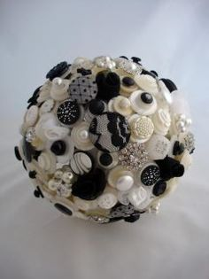 black & white button bouquet