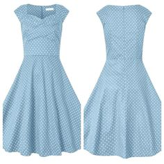 Blue retro dress Blue cotton dress with white polka dots. Size medium. Fits true. Worn once. Dresses