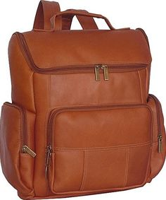The David King Multi Pocket Leather Backpack #334 comes with a padded computer area and features an easy access U-shaped zippered opening, two side zip pockets, and a large front zippered pocket.