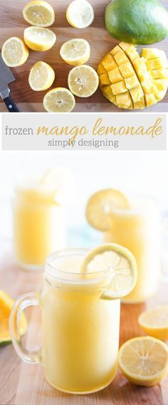 homemade Frozen Mango Lemonade Recipe - this is the best summer drink and it is so easy to make with only a few ingredients ad yummy drinks Frozen Lemonade, Frozen Drinks, Pineapple Lemonade, Smoothie Drinks, Smoothie Recipes, Mango Drinks, Homemade Smoothies, Homemade Lemonade, Vitamix Recipes