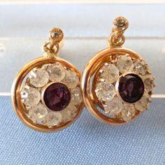 Deco 14k Faux Diamond/Amethyst Italian Earrings - FROV
