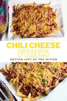 These Chili Cheese Fries are slathered with a beefy bean chili sauce and lots of melted cheese. Great for a side dish or a whole meal. #frenchfries #chilicheesefries #chilisauce #appetizers Easy Appetizer Recipes, Snack Recipes, Yummy Recipes, Free Recipes, Yummy Food, Vegetarian Comfort Food, Comfort Foods, Side Dish Recipes, Side Dishes