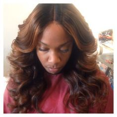 Look at this beautiful sew in with big curls!!