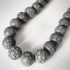 handmade polymer clay black & white beads