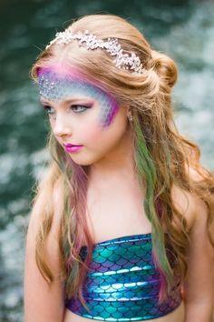 Leilani Mermaid Coverup Mermaid Costume Makeup, Mermaid Costume Kids, Mermaid Halloween Costumes, Mermaid Makeup, Halloween Make Up, Siren Costume, Homemade Mermaid Costumes, Little Girl Halloween Costumes, Pocahontas Costume