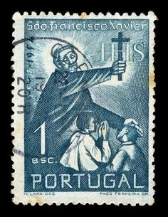 Vintage canceled postage stamp with illustration of Saint Francis Xavier holding a cross and blessing two children, Portugal circa Francis Xavier, St Francis, Portugal, Postage Stamp Design, Sound Art, Old Logo, Vintage Stamps, Abstract Photos, My Stamp