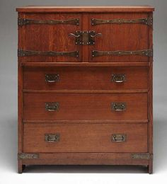Linen press, Gustav Stickley, attributed to John Seidemann, maker, United Crafts or Craftsman Workshops, manufacturer, Eastwood, New York, 1903, oak and iron, Dallas Museum of Art, The Eugene and Margaret McDermott Art Fund, Inc., facilitated by American Decorative Art 1900 Foundation, 2008.22.McD