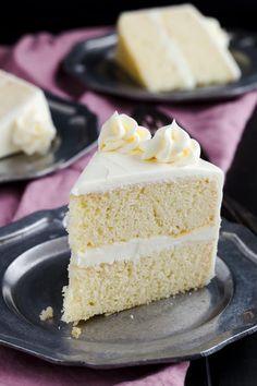 Incredibly tender and moist Basic Vanilla Cake Recipe. #bakedbyanintrovertrecipes #cake #vanilla