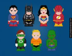 Justice League of America Cross Stitch PDF Pattern Download    Superman, Batman, Wonder Woman, Flash, Green Lantern, Aquaman, and the Martian Manhu...