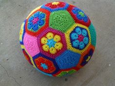 African flower crochet hexagon motif soccer ball