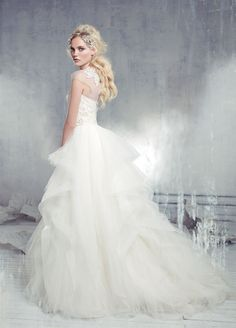 Alvna Valenta AV9308   Tulle ballgown with a soft scoop neckline, jeweled embroidered bodice and horsehair cascading skirt