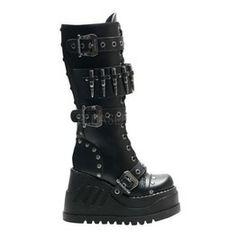 Platform Studded Gothic Punk Knee High Boot