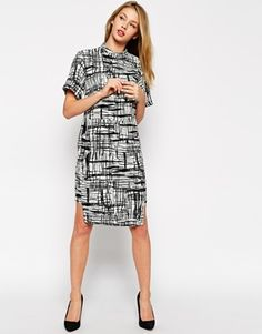 ASOS Midi Shift Dress in Mono Print with Stepped Hem