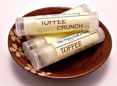 Toffee Crunch  Lip Balm  Natural Handmade by BluePoppyBath on Etsy, $3.00