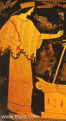 Demeter, goddess of agriculture, holding grain | Greek vase, Athenian red figure volute krater