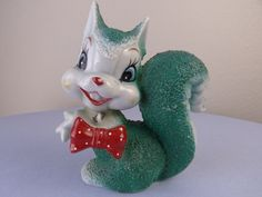 Vintage Green Ceramic Squirrel with Red Polka Dot Bow Tie