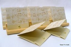 Set of 8 Antiquity Music Sheet Matchbook Gift Tags or Note Cards ID 11738