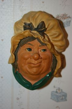 Vintage Bosson's chalkware wall decor head