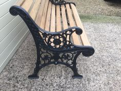 Victorian #garden bench - restored with oak slats & #black #antique cast iron leg,  View more on the LINK: http://www.zeppy.io/product/gb/2/162158571131/