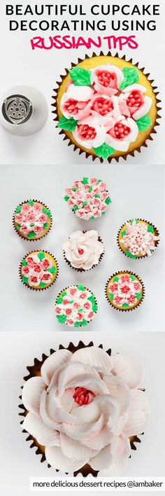 Russian Tips- if you find it hard to do piping techniques for cakes and cupcakes, you can try this easy tutorial on how to decorate your favorite cakes and cupcakes using easy piping techniques. Decorating cakes and cupcakes shouldn't be complicated. Let me show you how to create beautiful designs by clicking this pin. For more simple and easy dessert recipes to make, check us out at #iambaker.  #desserts #sweettooth