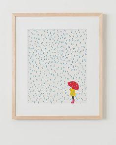 Fine Art Print. Girl with Umbrella in the Rain. by joreyhurley