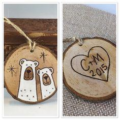 Personalized wood Christmas ornament, polar bear ornament, anniversary gift, wedding gift, couples BFF ornament, boyfriend gift, woodburning
