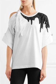 Monse - Sequin-embellished Cutout Cotton-jersey T-shirt - White - x small