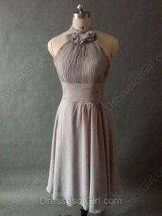 Affordable Knee-length Gray Chiffon Pleats Halter Bridesmaid Dresses…