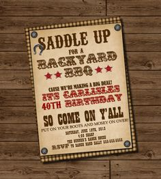 Western Birthday Invitation - Cowboy Birthday Invitation - Adult Country Western BBQ Birthday Invitation.