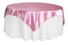 "Square+72""+Satin+Table+Overlay+-+Medium+Pink"