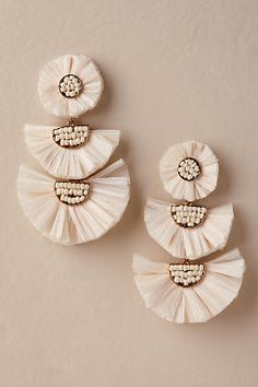 Wedding Earrings Jardin Dessa Chandelier Earrings - Description Raffia chandeliers with bead details are a perfectly boho addition to your look. By Jardin Style Bridesmaid Jewelry, Wedding Jewelry, Boho Wedding, Wedding Ideas, Bridal Accessories, Jewelry Accessories, Jewelry Hooks, Chandelier Earrings, Stud Earrings