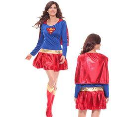 Karneval-Fasching-Damen-Super-Hero-Supergirl-Kostuem-Fancy-Dress-Outfit-Cospaly