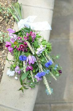 {Organic/Rustic/Shabby Chic/Boho  Hand Tied Bride's Bouquet Comprised Of: Fuchsia/Pink/White Sweet William (Dianthus), Blue Cornflower, White Wheat, Blue Nigella, Other Pink/Purple Florals & Misc. Varieties Of Greenery/Foliage}